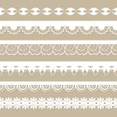 Set of paper laces on the beige background — 图库矢量图片
