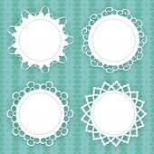 Set of 4 lacy frames on the seamless pattern — Stock Vector