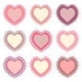 Set of heart shaped frames — Stock Vector