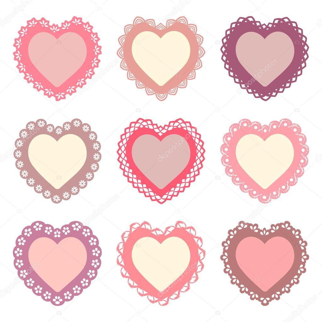 set of 9 heart frames with an ornamental border seamless borders are included in the file vector by irochka1