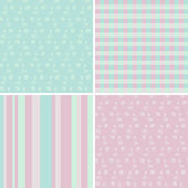 4 pastel seamless patterns — Vector de stock