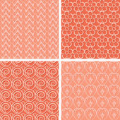 Set of red seamless patterns — Stock Vector