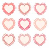 Set of heart shaped frames with a lacy border — Stock Vector