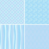 Set of blue seamless patterns — Stock Vector