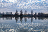 Winter sunset in the shore of a lake with clouds reflected in th — Stock Photo