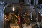 Representation of the Christmas Nativity Scene with ceramic statuettes — Stock Photo