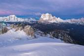 Dolomites in winter during the sunrise — Stock Photo