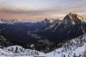 Cadore valley during the sunrise in winter — Stock Photo