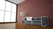 Side view of an interior rendering of a living room with texture — Fotografia Stock