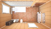 3D interior rendering of a bathroom with furnitures — Stock Photo