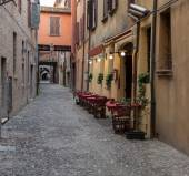 Ancient trattoria in the downtown of Ferrara city — Stock Photo