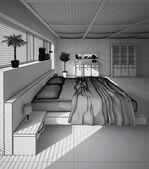 现代卧室 3d 室内渲染 — 图库照片