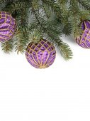 Christmas tree with ball isolated — Stock Photo