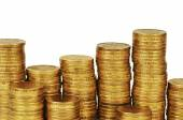 Gold money stack isolated on white — Stock Photo