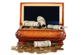 Coins and banknotes in the box — Stock Photo