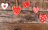 Hearts on wooden background. Valentine's day — Stock Photo