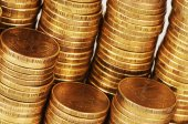 Gold money stack macro — Stockfoto