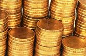 Gold money stack macro — Stock Photo