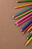 Color pencils on a board — Stock Photo