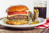 Vegetarian black bean cheese burger — Stock Photo