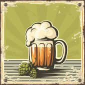 Retro beer poster. — Stock Vector