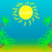 Summer landscape sun and clear skies with a sea or ocean — Stock Vector