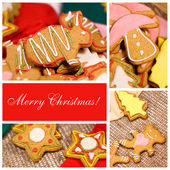 Collage. Christmas ginger biscuits — Stock Photo