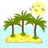 Illustration of palm tree in island on background — Stock Vector