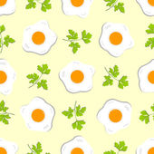 Seamless pattern with eggs and sprigs of parsley on light background — Stock Vector