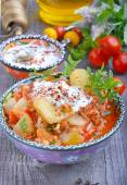 Zucchini, stewed with tomatoes and rice — Stock Photo