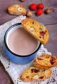 Cocoa with  biscotti — Stock Photo