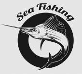 Sea fishing logo — Stock Vector