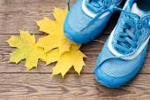 Sports shoes and autumn leaves — Stock Photo