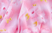 Pink fabric with flowers — Stock Photo