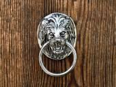 Poignée de porte ancienne en forme de la bouche du lion — Photo