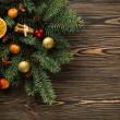 Christmas decoration on wooden table — Stock Photo #58400725