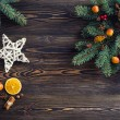 Christmas decoration on wooden table — Stock Photo #58400773