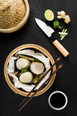 Steamed scallops top view — Stock Photo