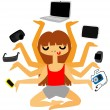 Techno Addict Girl Juggling Gadgets — Stock Vector #59018441