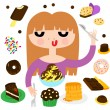 Pretty Girl with Desserts — Stock Vector #59018641
