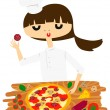 Pretty Female Chef making pizza — Stock Vector #59018715
