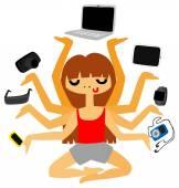 Techno Addict Girl Juggling Gadgets — Stock Vector