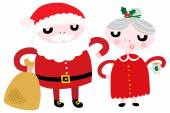 Mr and Mrs Santa — Stock Vector