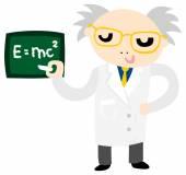 Funny Crazy Scientist Professor Character — Stock Vector