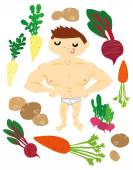 Strong Muscular Man with Healthy Vegetables — Stock Vector