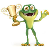Frog with trophy — Stock Photo