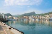 Panorama of Yehliu Fishing Harbor in the City Wanli , it is just next to Yehliu Geopark,Taiwan — Stock Photo