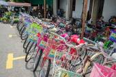 Bicycle renting service available in the street art in Georgetown, Penang — Stock Photo
