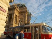Tram at the National Theatre in Prague - Editorial — Stockfoto