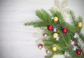 Christmas background, decoration on white wooden board. — Stock Photo